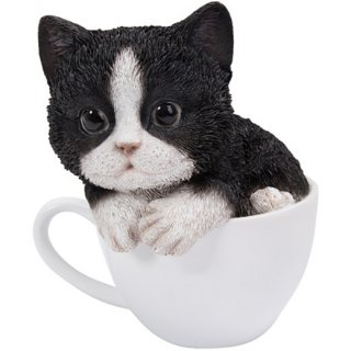 ティーカップinタキシードキャット スタチュー 二色猫 /子猫の置物 Teacup Kitten Tuxedo Cat Statue