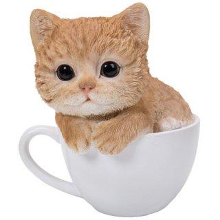 ティーカップinキャット トラネコ スタチュー/子猫の置物 Teacup Kitten Tabby Cat Statue