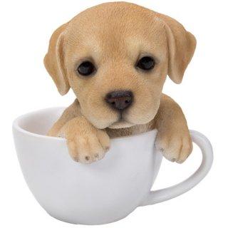 ティーカップinドッグ ラブラドールレトリバー スタチュー/子犬の置物 Teacup in PupsDog Labrador Retriever Statue