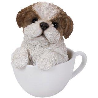 ティーカップinドッグ シーズー スタチュー/子犬の置物 Teacup in PupsDog Shih Tzu Statue