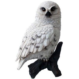 シロフクロウ ホワイトオウル スタチュー(像) アニマルフィギュア Snowy Owl on Stump Statue Animal Figurine