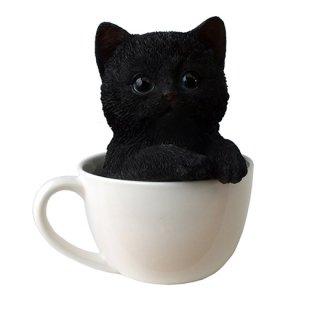 ティーカップinブラックキャット スタチュー 黒猫/子猫の置物 Teacup Kitten Black Cat Statue