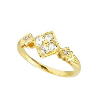 18K YG ラフダイヤモンド 4石スクエアデザインリング