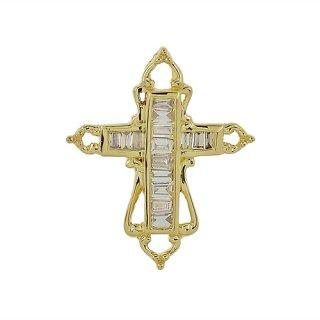 18K YG シャンパンダイヤモンド クロスペンダントヘッド
