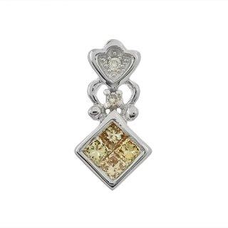 18K WG シャンパンカラーダイヤモンド ペンダントヘッド