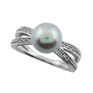 18K WG ナチュラルブルーカラーアコヤ真珠 デザインリング