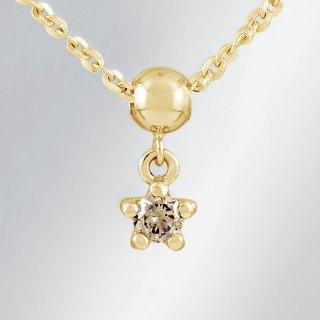 18KYG シャンパンカラーダイヤモンド スターデザインネックレス
