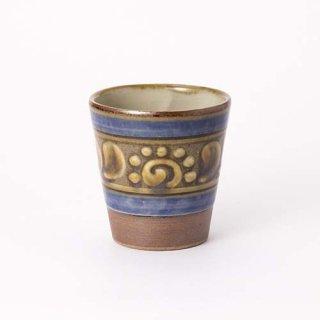 やちむん 高江洲陶器所 フリーカップ(青釉イッチン)