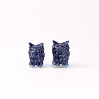 やちむん シーサー箸置きペア MITSUOシーサー美術館 ブルー