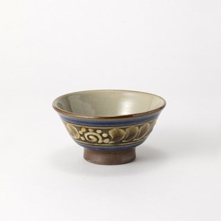 やちむん 高江洲陶器所 3.5寸マカイ(青釉イッチン)