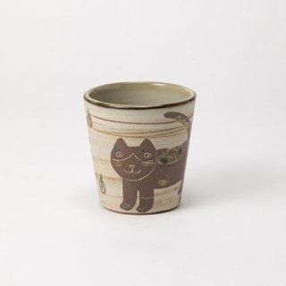 やちむん 工房o-gusuya ハチワレネコフリーカップ 01
