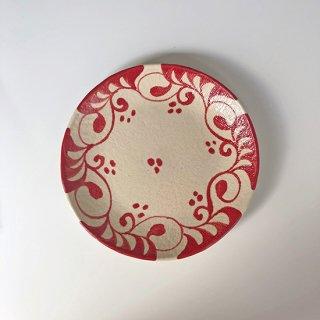 やちむん 眞正陶房 取り皿(赤唐草)
