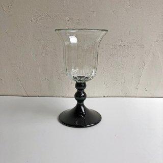 琉球ガラス glass32 縦モールワイングラス 足黒