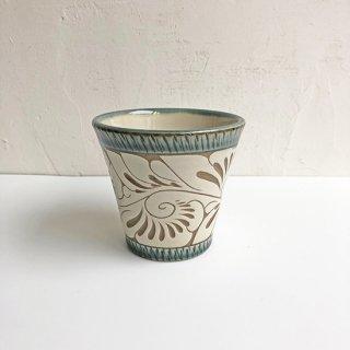 やちむん 育陶園 フリーカップ(小)緑釉唐草白抜