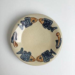 やちむん ノモ陶器製作所 5寸皿(魚紋ゴス)