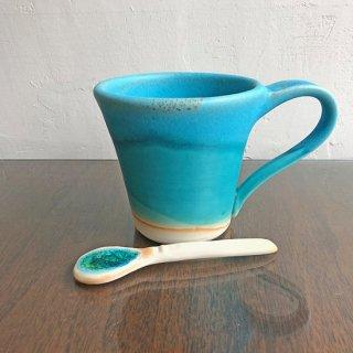 やちむん うるま陶器 マグカップ(スプーン付き)