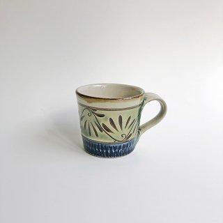 やちむん 工房o-gusuya 緑釉唐草文マグカップ