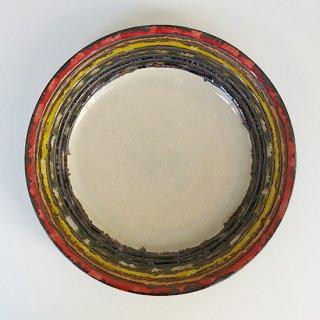 やちむん アカマシバル製陶所 ふちどりプレート8寸(虹架かる)