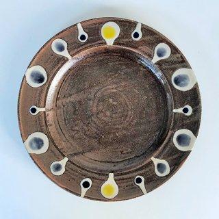 やちむん アカマシバル製陶所 ふちどりプレート8寸(ニヌファブシ)