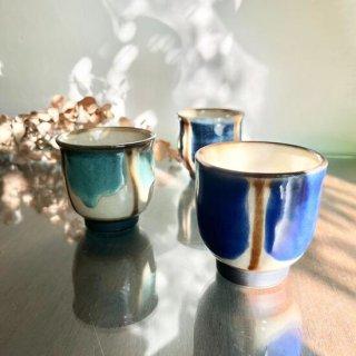 やちむん ノモ陶器製作所 湯呑(コバルトストライプ)
