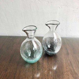 琉球ガラス ガラス工房ロブスト 冷酒ヒビ徳利(2色)