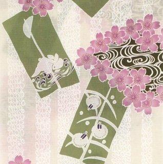 桜七軒浴衣反物・桜うさぎ