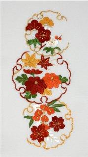 白羽二重地・雪輪模様に桜楓刺繍