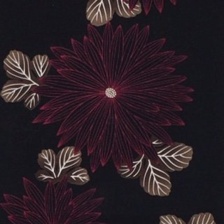 桜七軒浴衣反物・黒地菊