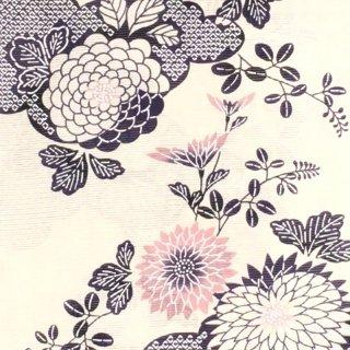 桜七軒浴衣反物・白地に菊