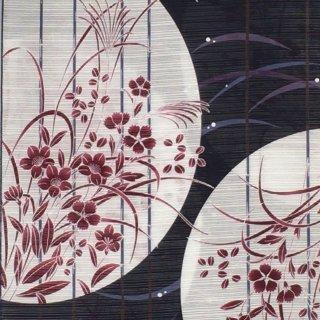 桜七軒浴衣反物・紺地に白の丸 秋草