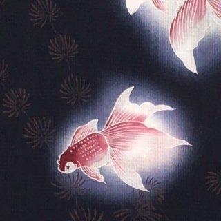 桜七軒浴衣反物・紺地に金魚