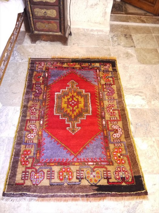 トルコオールド絨毯コンヤアクサライ チェイレキ 約144×100�