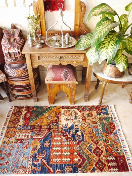 新しい絨毯 シルヴァン パッチワークデザイン  約123×81