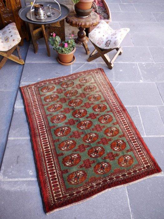ヴィンテージラグ グリーンのトルクメン絨毯 約117×85