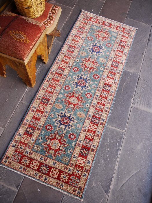新しい絨毯 綺麗なターコイズブルーのシルヴァンラグ 約179×67