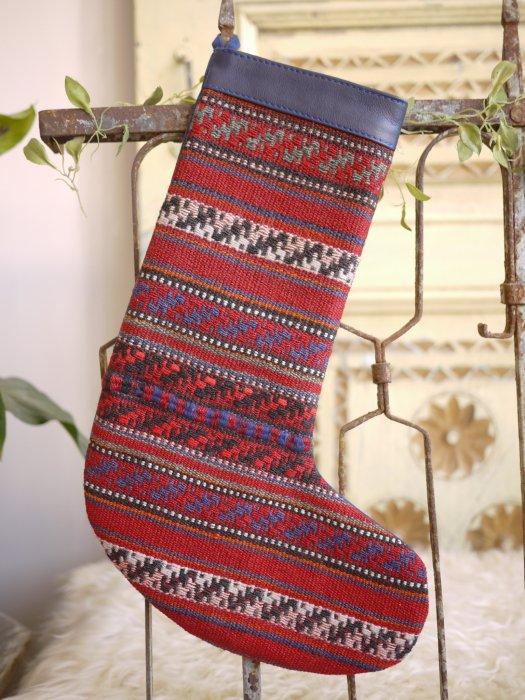 オールドキリムクリスマスブーツ058