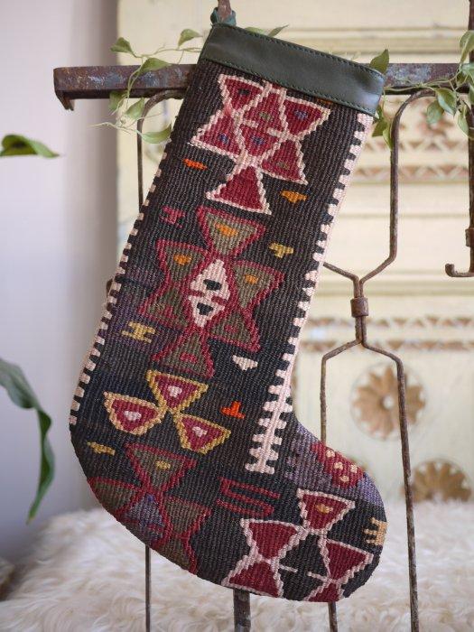 オールドキリムクリスマスブーツ062