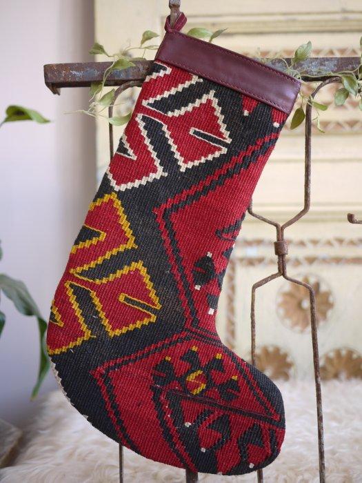 オールドキリムクリスマスブーツ063