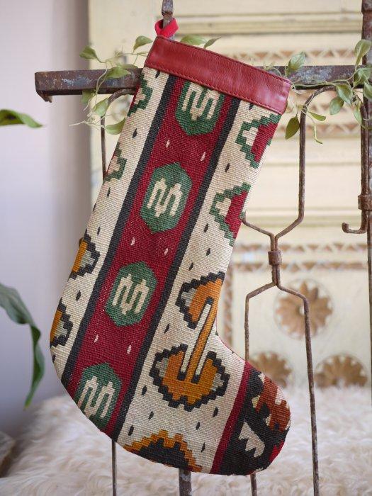 オールドキリムクリスマスブーツ065