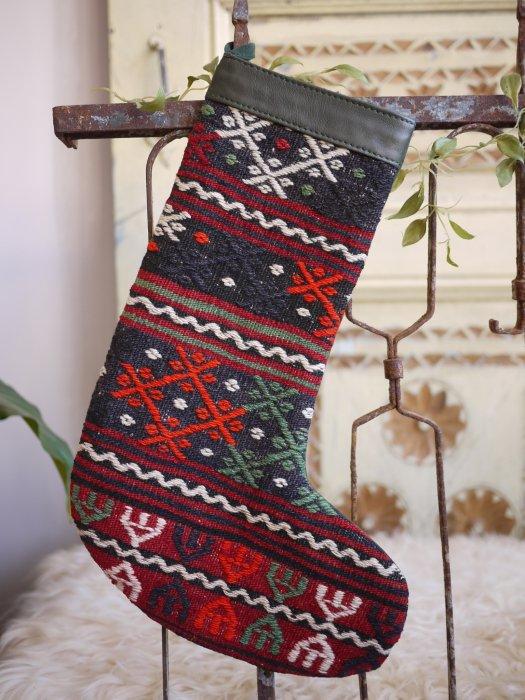 オールドキリムクリスマスブーツ071