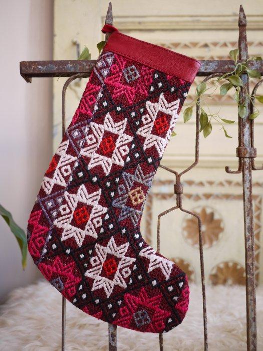オールドキリムクリスマスブーツ076
