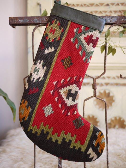 オールドキリムクリスマスブーツ077