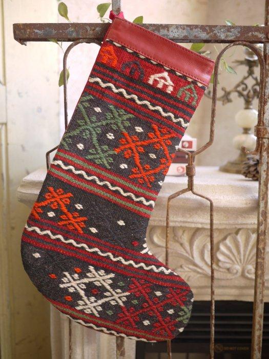 オールドキリムクリスマスブーツ079