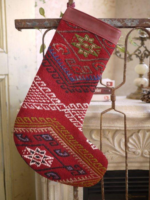 オールドキリムクリスマスブーツ080