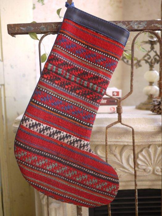 オールドキリムクリスマスブーツ082