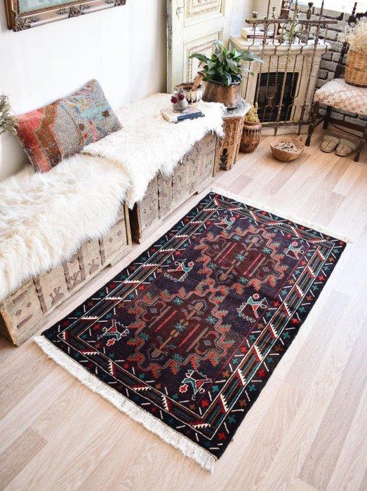 オールド絨毯 アフガン産 バルーチ  約146×88
