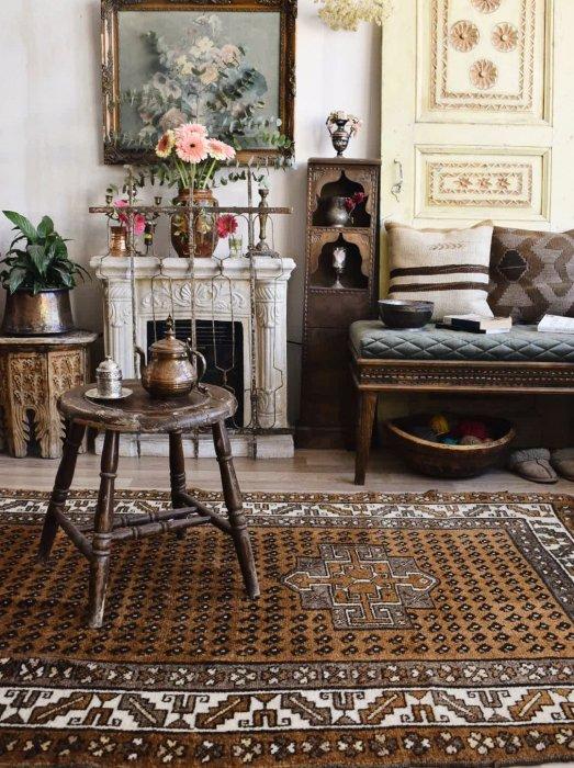ヴィンテージ絨毯 ナチュラルカラーのカルス  約260×134