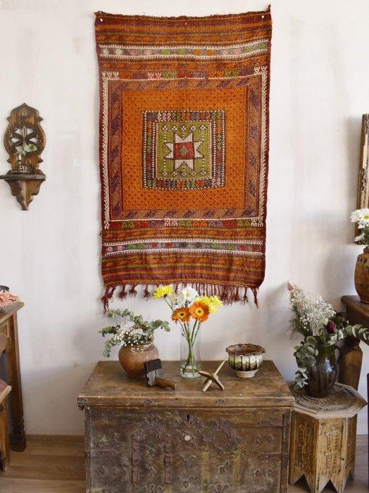 遊牧民のセミアンティークキリム  フェテイエ ジジム 約125×78