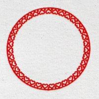 ハートが並ぶ円フレーム(大小の2個セット)