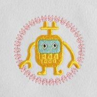 ワンコイン・デザインPack60(ロボットB  ウレタン立体刺繍・制作レシピ付き)